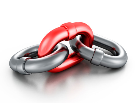 Chrome metallic chain with red link on white background. 3d render illustration