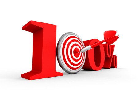 price hit: hundred percent 100% red symbol with target and arrow. 3d render illustration Stock Photo
