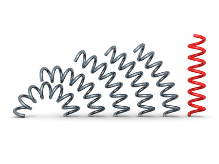 springy: red bent spring spiral leader on white background. 3d render illustration