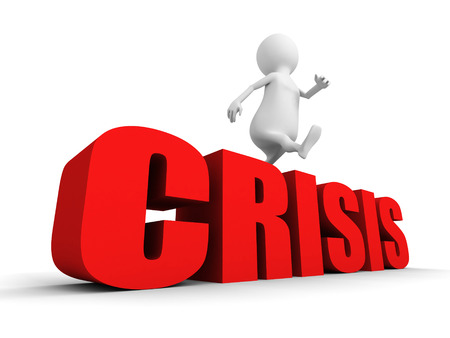 overcome: white 3d person overcome jumping over word CRISIS. 3d render illustration Stock Photo