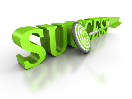 SUCCESS word with green dart arrow in center of target. 3d render illustration illustration