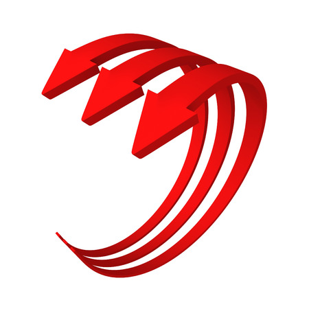 three red cycle arrows growing up. 3d render illustration illustration