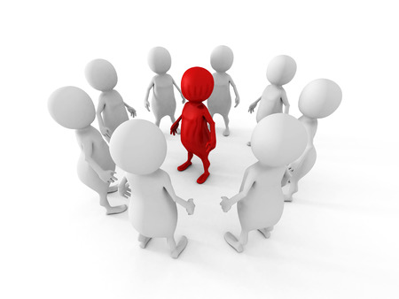 the chosen one: white team group stand around red leader boss. leadership concept 3d render illustration Stock Photo