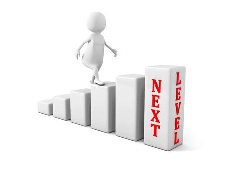 3D man klimt naar het volgende niveau. succes carrière concept. 3d render illustratie Stockfoto