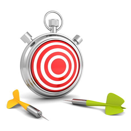 stopwatch with red target and dart arrows. business strategy concept 3d render illustration illustration