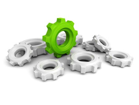 Cogwheel Gears With One Green Concept Leader. 3d render illustration