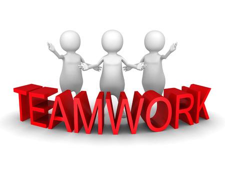 3d people team with red concept word teamwork. 3d render illustration illustration