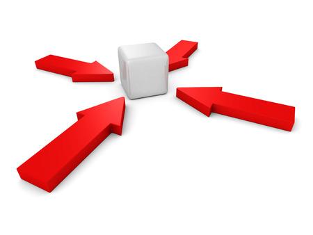 pertinente: flechas rojas que se�alan al centro bloque cubo. 3d ilustraci�n