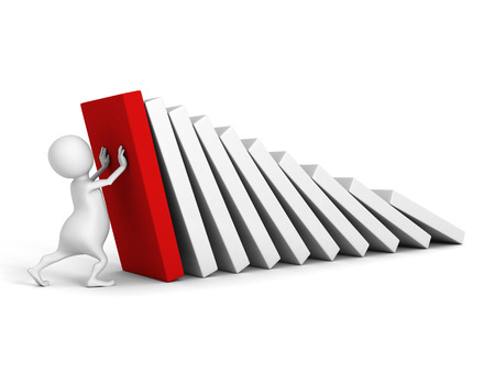 white 3d man stop domino effect with red first. 3d render illustration