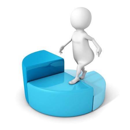 achivement: white 3d man steps up on pie chart diagram. business achivement success concept 3d render illustration