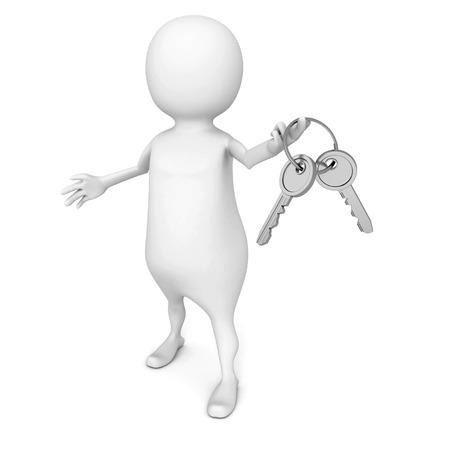 pent: white 3d man holding bunch of metallic shiny keys. 3d render illustration