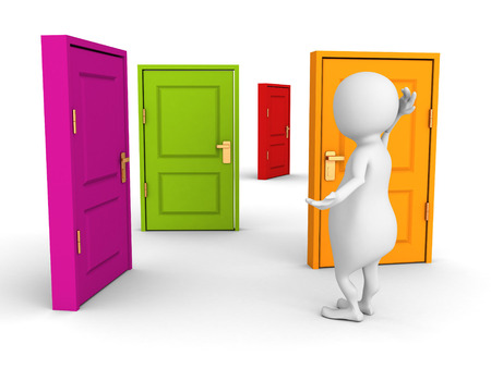 3d man makes difficult choice with colorful doors. 3d render illustration illustration