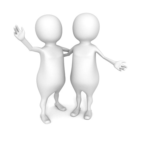 two 3d people friends are hugging happy. 3d render illustration