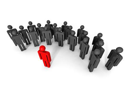 the chosen one: concept 3d leaqder man icon behind large team group. leadership 3d render illustration