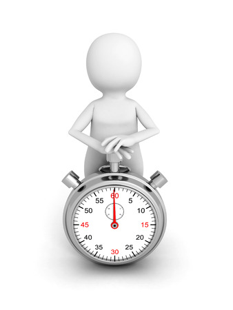 elapsed: 3d white person push start button on stop watch. 3d render illustration