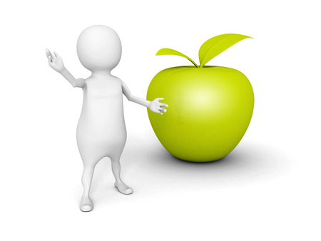 winesap apple: white 3d man with green fresh apple. 3d render illustration