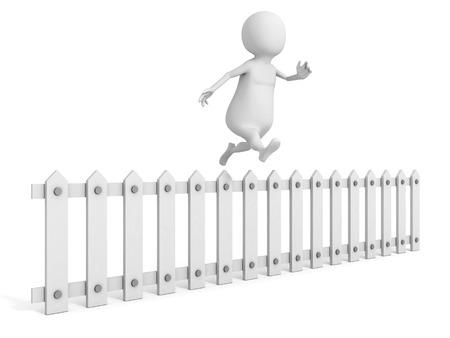 3d man jumping over white wooden fence. 3d render illustration illustration