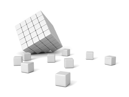 broken white block shape organized cubes. 3d render illustration