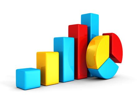 비즈니스 다채로운 원형 및 막대 차트 다이어그램 그래프입니다. 3d 렌더링 일러스트 레이션