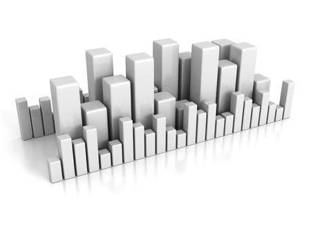 achivement: Business bar chart graph on white background. Finance achivement concept 3d render illustration
