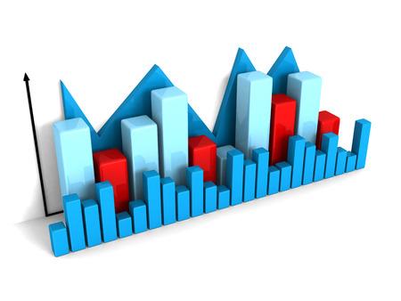 business financial bar chart graph on white background. 3d render illustration illustration