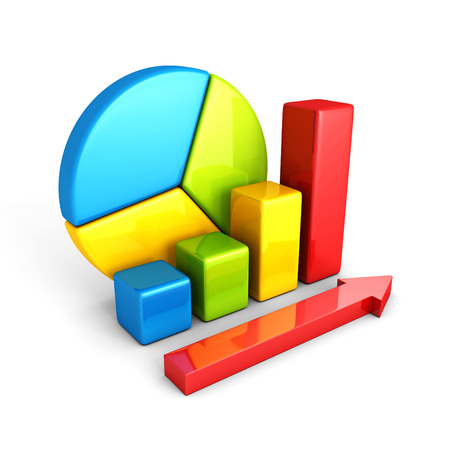 statistics analysis business colorful shiny bar graph. 3d render illustration illustration