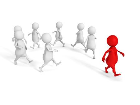 uomo rosso: Concettuale individuo 3D uomo rosso fuori dal gruppo bianco. 3d rendering illustrazione