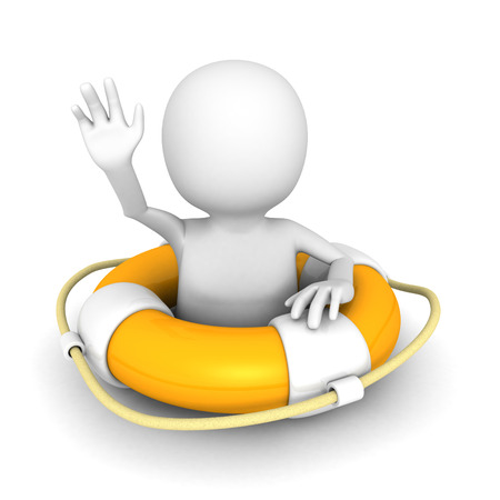 3d man and lifebuoy on white background. 3d render illustration illustration