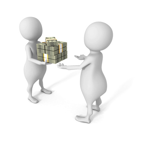 charity and relief work: white 3d man giving bundle of dollars to another person. 3d render illustration