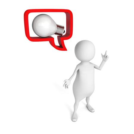 white 3d man with idea lightbulb in speech bubble . 3d render illustration illustration