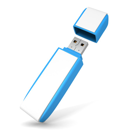 Blue USB flash drive on white background. 3d render illustration