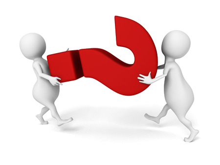 3d people carry big red question mark symbol. 3d render illustration illustration