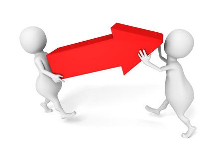 wit 3d mensen dragen grote rode pijl. 3d render illustratie