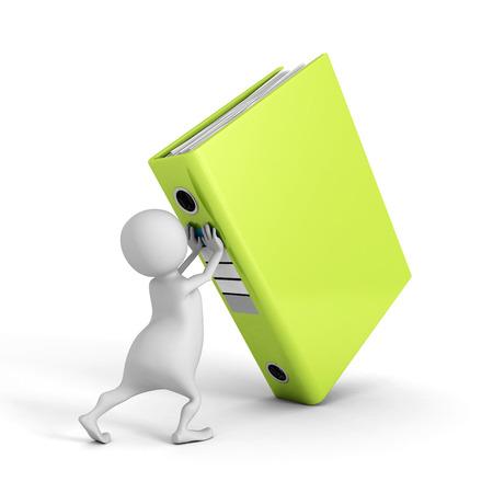 push up: white 3d man push up big green ring binder. 3d render illustration Stock Photo