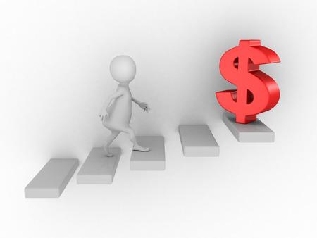 white 3d person climbing up on ladder to dollar symbol. business finance success 3d render illustration illustration