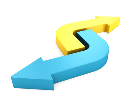 yellow and blue rrows pointing in opposite directions. 3d render illustration illustration