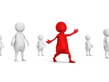 different leader man of white crowd team. leadership teamwork concept 3d render illustration illustration
