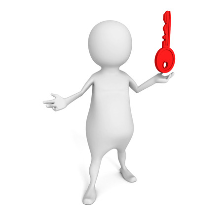 white 3d  person with red success  key. 3d render illustration illustration
