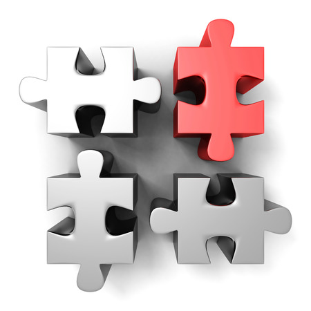 disharmony: red different individual jigsaw puzzle. 3d render illustration