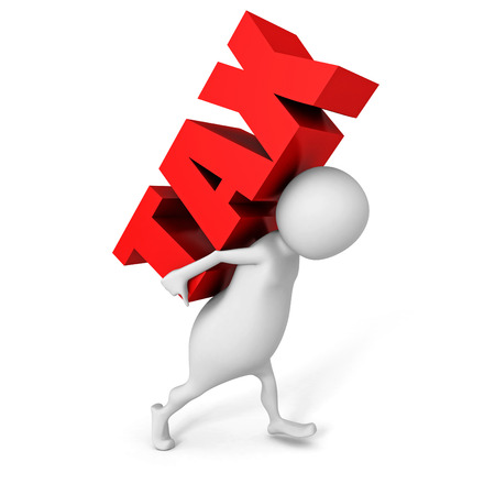 white 3D person carrying red word tax. 3d render illustration