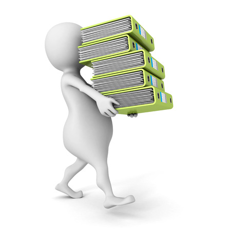 white 3D person carrying  pile of office ring binders. 3d render illustration