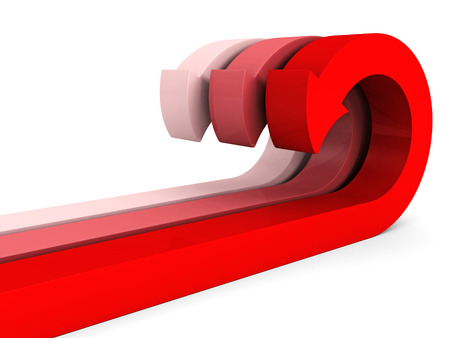 flechas curvas: rojo grupo de flechas curvas en blanco. 3d ilustraci�n Foto de archivo