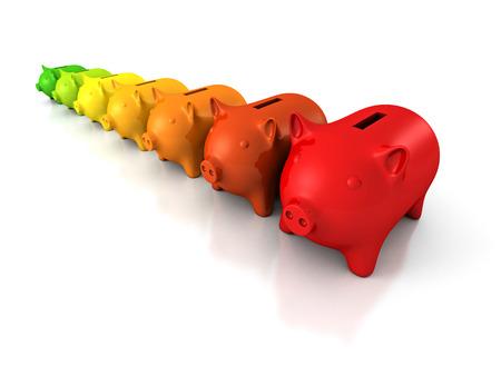 Efficiency concept colorful piggy banks in row. 3d render illustration illustration