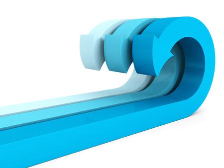 flechas curvas: azul grupo de flechas curvas en blanco. 3d ilustraci�n Foto de archivo