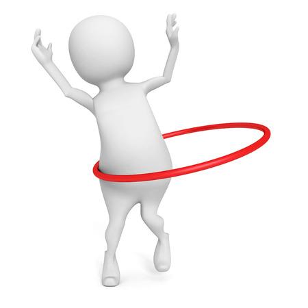 3d man plays hoop exercise on white background. 3d render illustration illustration