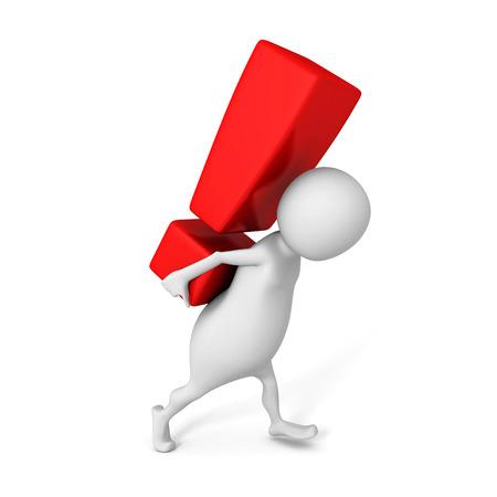 white 3d man carry big red exclamation mark. 3d render illustration illustration