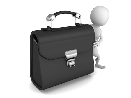 alienation: white 3d man with big black leather briefcase. 3d render illustration Stock Photo