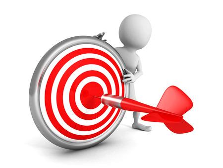 white 3d man with red dart target and arrow. 3d render illustration illustration