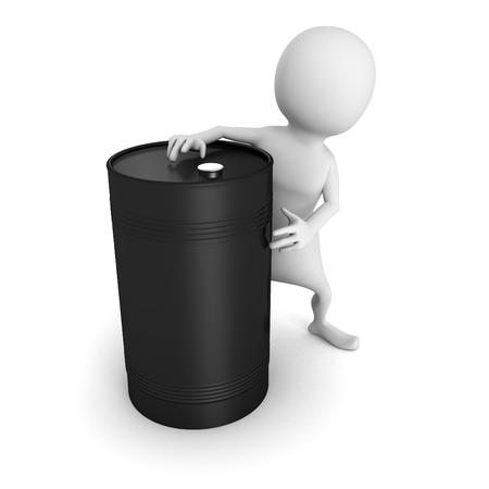 nafta: white 3d man with black oil barrel. 3d render illustration