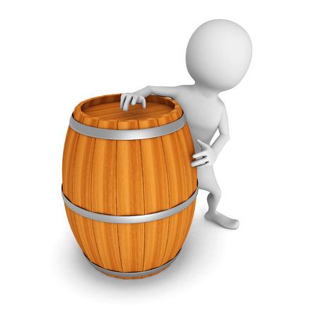 white 3d man with wooden wine barrel. 3d render illustration illustration
